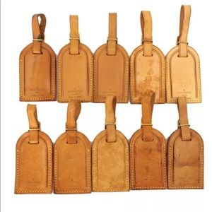 Louis Vuitton Leather Luggage Bag Tags: set of 10
